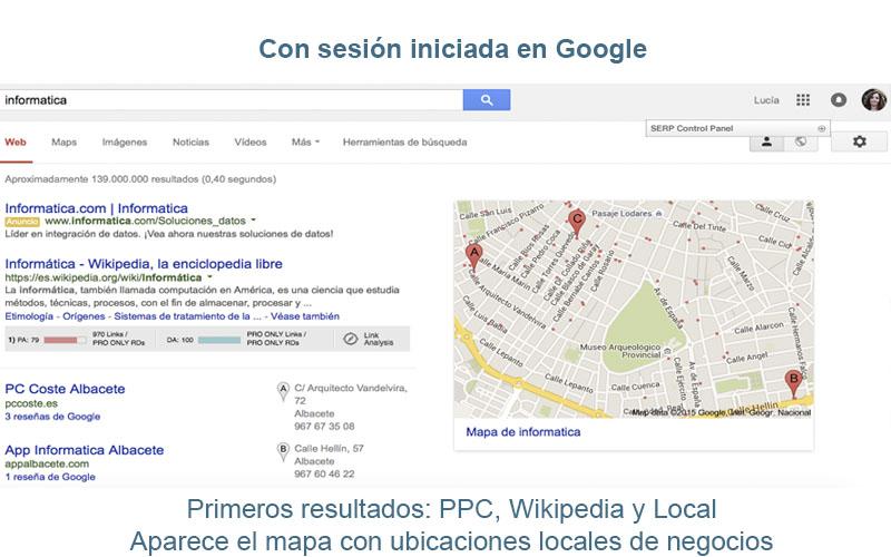 Sesión iniciada en Google