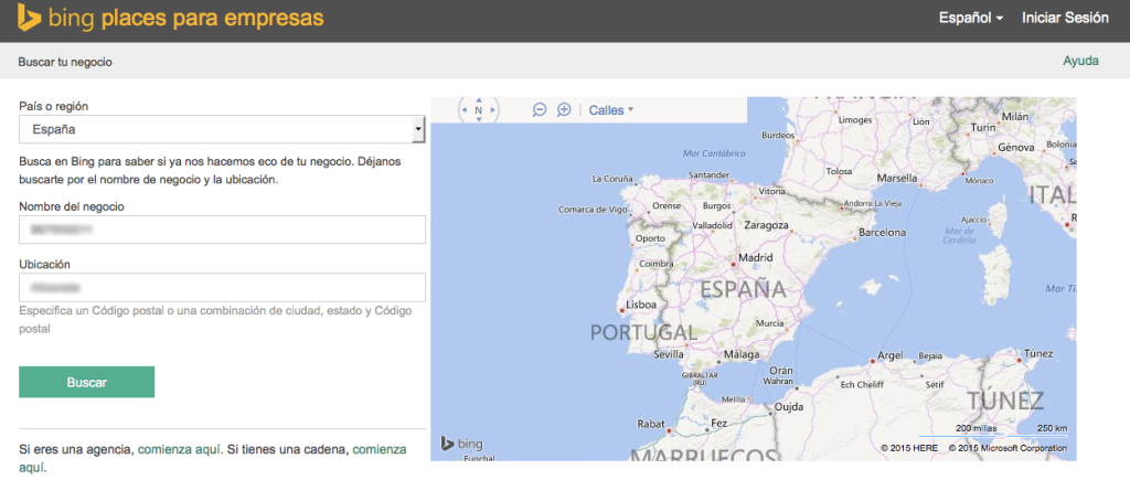 Buscar tu negocio en Bing Places for Business