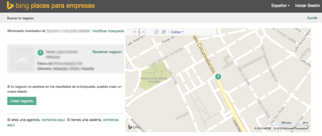 Crear negocio Bing Places Local
