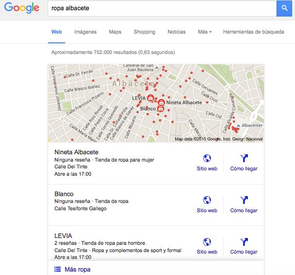 Cómo se muestran los resultados locales en Google