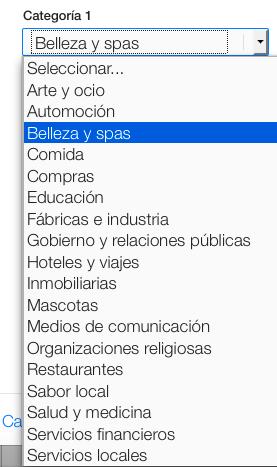 Categorías de negocios locales en Apple Maps