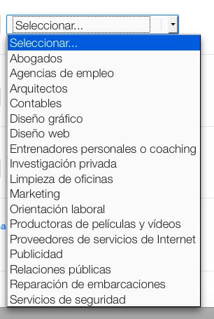 Selecciona las categorías de tu negocio
