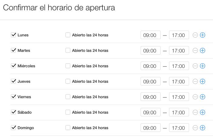 Horario de negocio en Apple Maps
