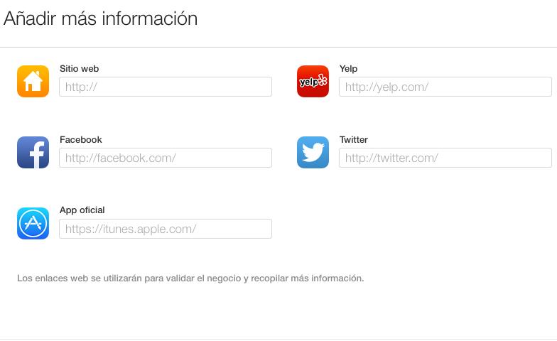 Añadir sitio web, redes sociales y enlace en Yelp en Apple Maps