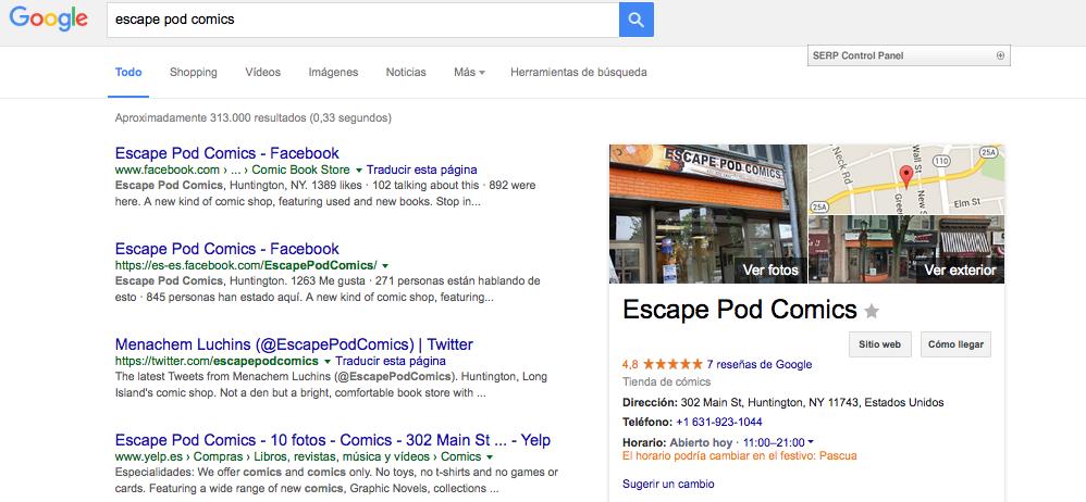 Captura de pantalla en Google ES