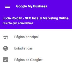 Acceso a Google+ desde el botón izquierdo opciones