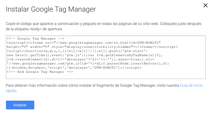 Google Tag manager - codigo a implementar