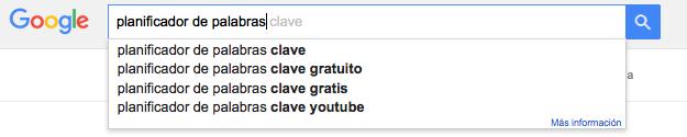 google instant herramienta palabras clave