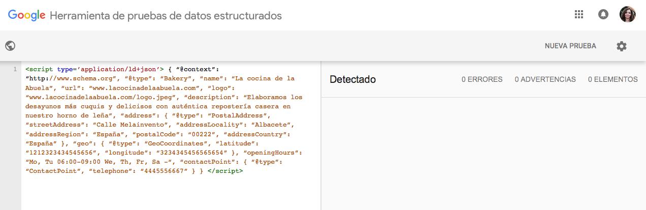 herramienta marcado datos estructurados google