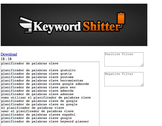 keyword shitter herramienta palabras clave