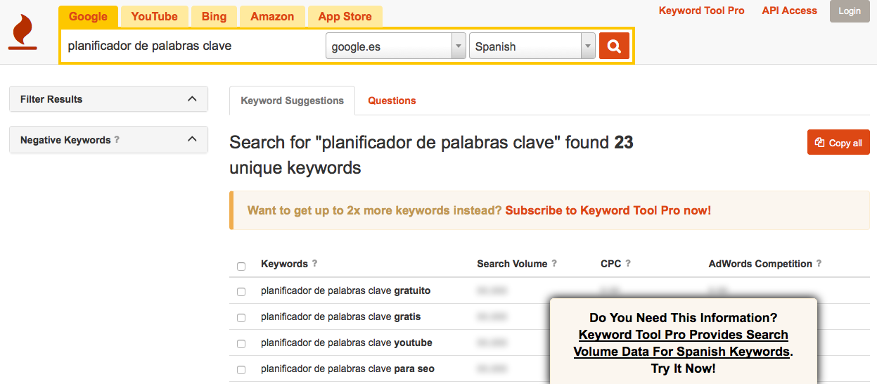 keyword tool herramienta palabras clave