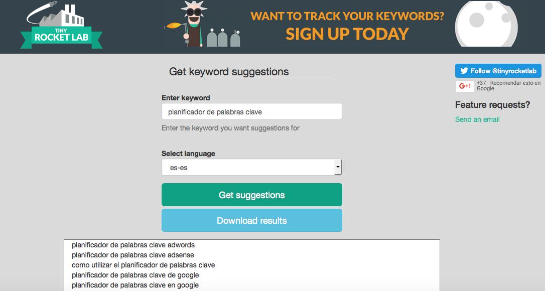 tiny suggest herramienta palabras clave